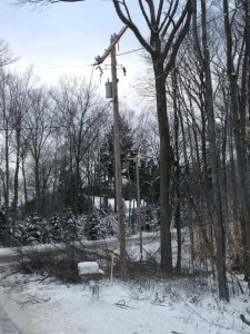 Consumers Energy crews continue to work as quickly and safely as possible to restore power to many parts of Michigan. Pictured: A broken cross arm on utility pole.