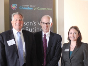 From left: John Russell, Doug Rothwell and Mindy Bradish-Orta, President of Jackson County Chamber of Commerce.