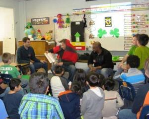 From left, Jim Ellis, John Hiddema, Marcus Chandrapal and Dan Schmoekel bring popular children's books to life.