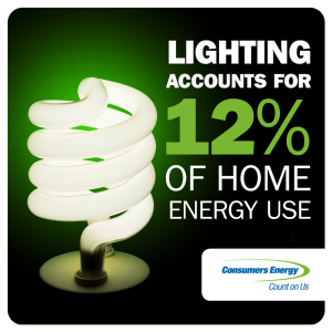 Swap out your existing incandescent bulbs for more energy efficient lighting options. Incandescent lights only use 10-15 percent of electricity for light while the rest turns into heat.