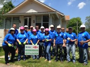 Consumers Energy employees volunteering for Habitat for Humanity